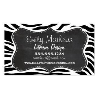 Black & White Zebra Stripes; Chalkboard Business Cards