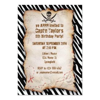 Black & White Zebra Stripes Jolly Roger Pirate Custom Announcements