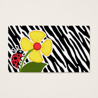 Black & White Zebra Stripes; Ladybugs Business Card