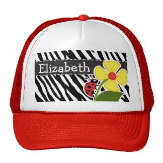 Black & White Zebra Stripes; Ladybugs Cap