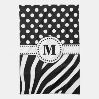 Black & White Zebra Stripes & Polka Dots Monogram Tea Towel