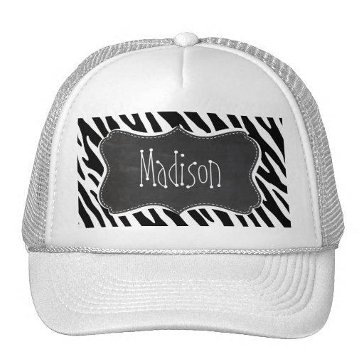 Black & White Zebra Stripes; Vintage Chalkboard Hat