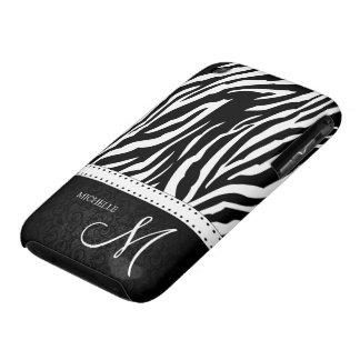 Black & White Zebra stripes with Black damask iPhone 3 Case