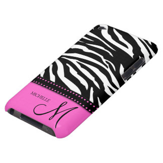Black & White Zebra stripes with hot pink Barely There iPod Case