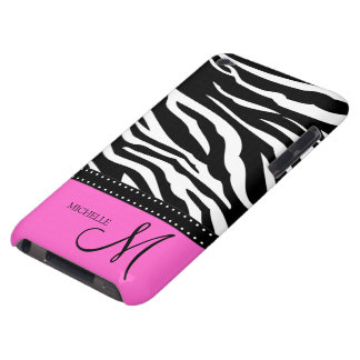 Black & White Zebra stripes with hot pink Barely There iPod Cases