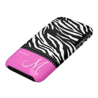 Black & White Zebra stripes with hot pink iPhone 3 Cases