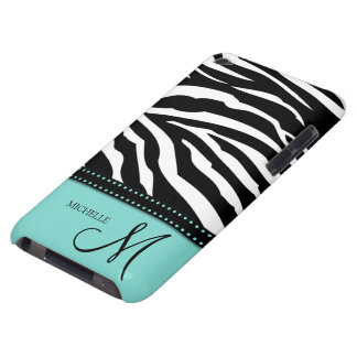 Black & White Zebra stripes with teal blue Barely There iPod Cases