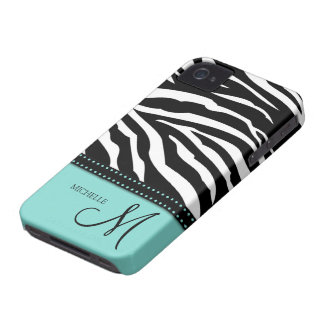 Black & White Zebra stripes with teal blue Case-Mate iPhone 4 Case