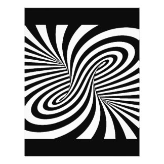 BLACK WHITE ZEBRA SWIRLS PATTERNS OPTICAL ILLUSION 21.5 CM X 28 CM FLYER