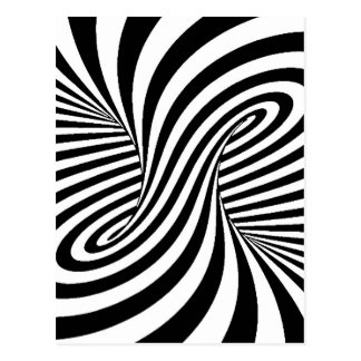 BLACK WHITE ZEBRA SWIRLS PATTERNS OPTICAL ILLUSION POSTCARD