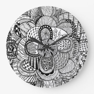 Black & White Zendoodle Abstract Lotus Flower 2 Large Clock