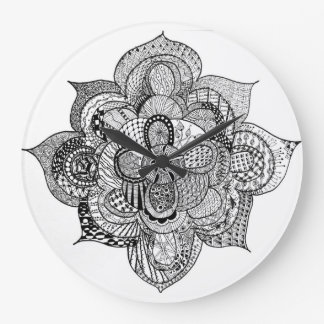 Black & White Zendoodle Abstract Lotus Flower Large Clock