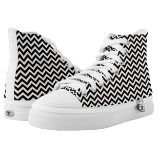 Black White ZigZag High Top Printed Shoes