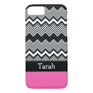 Black & White ZigZag Over Hot Pink, Personalized iPhone 8/7 Case