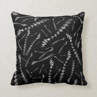 Black White ZigZags Cushion