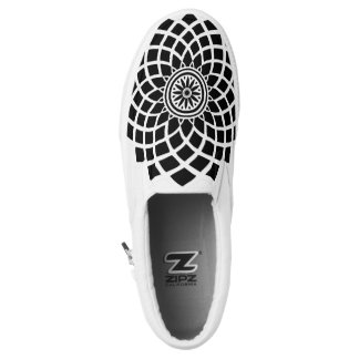 Black & White Zipz Slip On Shoes Printed Shoes