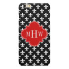 Black Wht Fleur de Lis Red 3 Initial Monogram iPhone 6 Plus Case