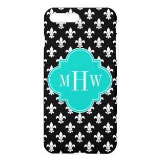 Black Wht Fleur de Lis Teal 3 Initial Monogram iPhone 7 Plus Case