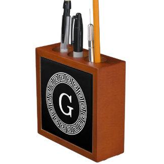 Black Wht Greek Key Rnd Frame Initial Monogram Desk Organiser