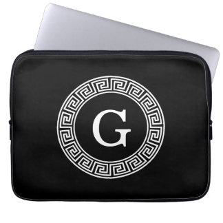 Black Wht Greek Key Rnd Frame Initial Monogram Laptop Sleeve