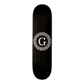 Black Wht Greek Key Rnd Frame Initial Monogram Skateboards
