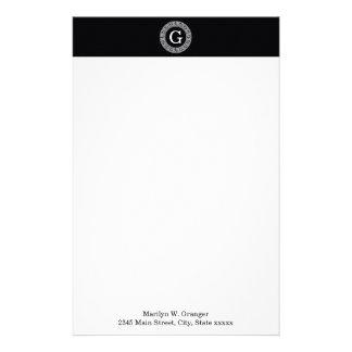 Black Wht Greek Key Rnd Frame Initial Monogram Custom Stationery