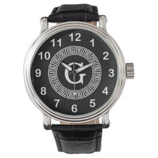 Black Wht Greek Key Rnd Frame Initial Monogram Watch