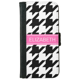 Black Wht Houndstooth #1 Hot Pink Name Monogram iPhone 6 Wallet Case