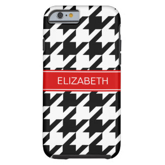 Black Wht Houndstooth #1 Red Name Monogram Tough iPhone 6 Case