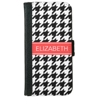 Black Wht Houndstooth #2 Coral Red Name Monogram iPhone 6 Wallet Case