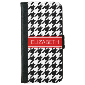 Black Wht Houndstooth #2 Red Name Monogram iPhone 6 Wallet Case