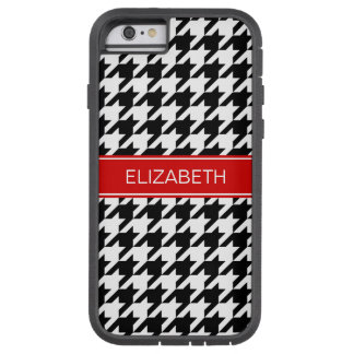 Black Wht Houndstooth #2 Red Name Monogram Tough Xtreme iPhone 6 Case