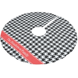 Black Wht Houndstooth Coral Red Name Monogram Brushed Polyester Tree Skirt
