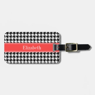 Black Wht Houndstooth Coral Red Name Monogram Luggage Tag
