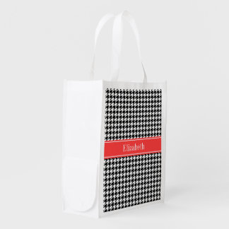 Black Wht Houndstooth Coral Red Name Monogram Reusable Grocery Bag