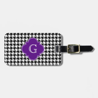Black Wht Houndstooth Purple Quatrefoil Monogram Luggage Tag