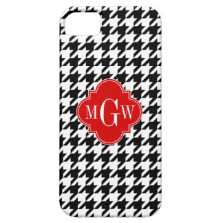 Black Wht Houndstooth Red Quatrefoil 3 Monogram Case For The iPhone 5