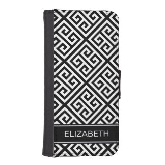 Black Wht Med Greek Key Diag T Black Name Monogram iPhone SE/5/5s Wallet Case