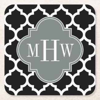 Black Wht Moroccan #5 Charcoal 3 Initial Monogram Square Paper Coaster
