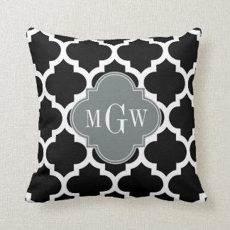 Black Wht Moroccan #5 Charcoal 3 Initial Monogram Throw Pillow