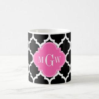 Black Wht Moroccan #5 Hot Pink #2 Name Monogram Coffee Mug