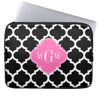 Black Wht Moroccan #5 Hot Pink #2 Name Monogram Laptop Sleeve
