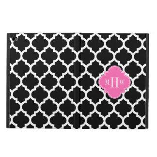 Black Wht Moroccan #5 Hot Pink 3 Initial Monogram Powis iPad Air 2 Case