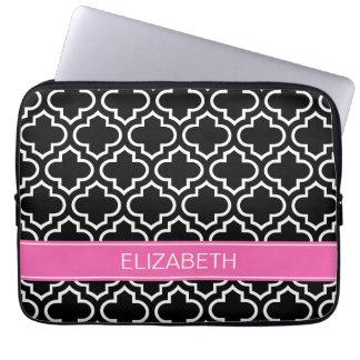 Black Wht Moroccan #6 Hot Pink Name Monogram Laptop Computer Sleeves