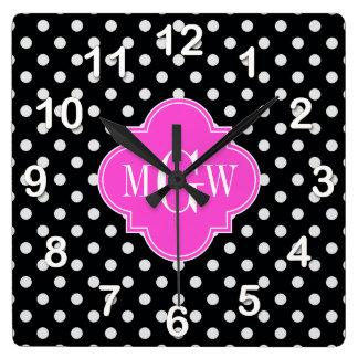 Black Wht Polka Dot Hot Pink Quatrefoil 3 Monogram Clocks