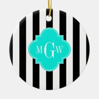 Black Wht Stripe Bright Aqua Quatrefoil 3 Monogram Christmas Ornament