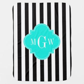 Black Wht Stripe Bright Aqua Quatrefoil 3 Monogram Receiving Blankets