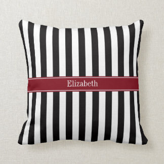 Black Wht Stripe Burgundy Ribbon Name Monogram Cushion
