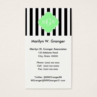 Black Wht Stripe Mint Green Quatrefoil 3 Monogram Business Card