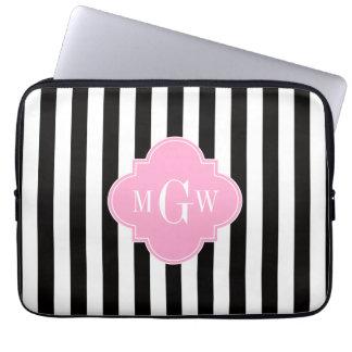 Black Wht Stripe Pink Quatrefoil 3 Monogram Laptop Sleeve